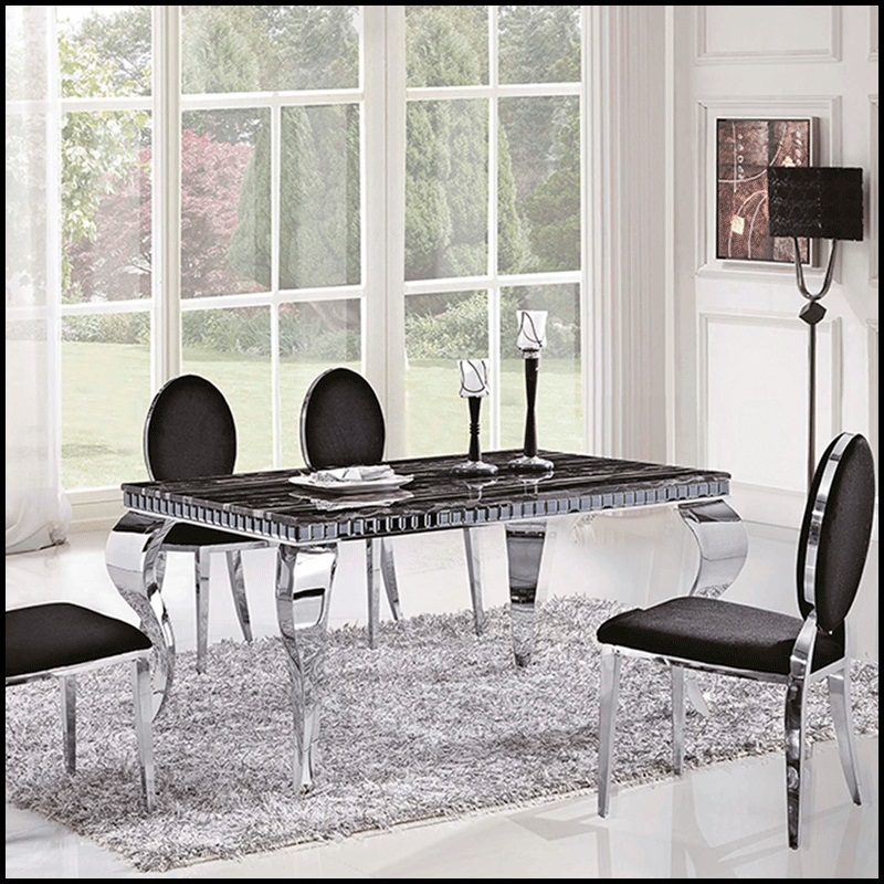 American stainless steel dining table marble top dining for Sofas modulares precios