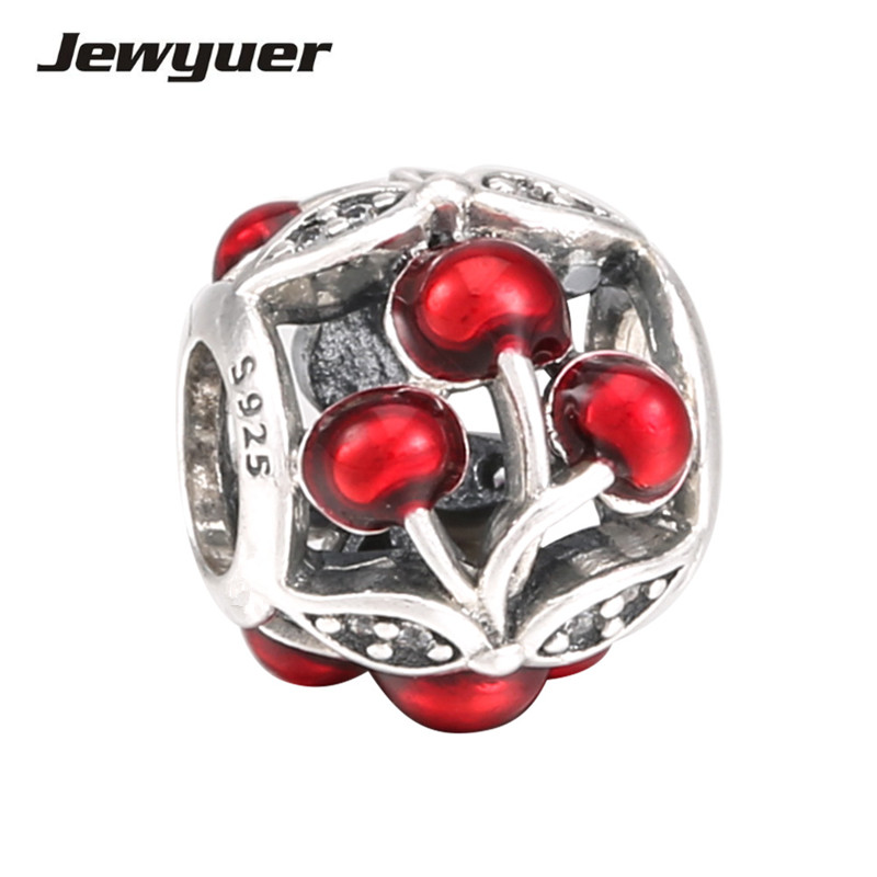Summer collection Sweet Cherries charms 925 Sterling Silver animals charm Fit bead Bracelet DIY for women fine jewelry BE362