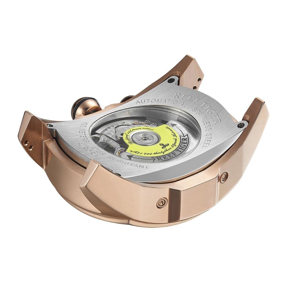 Reef Tiger/RT Big Sport Watch Men Luminous Analog Tourbillon Watches Top Brand Blue Rose Gold Watch  relogio masculino RGA3069 6