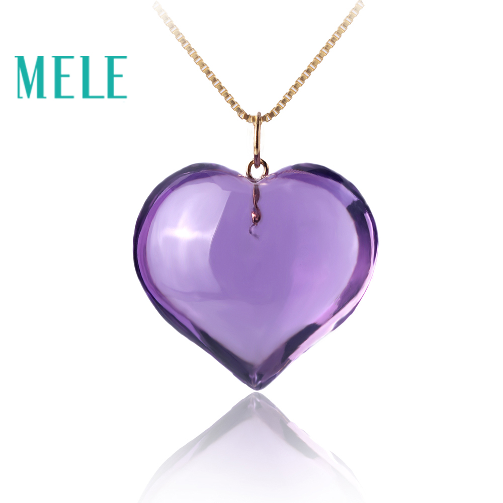 Natural amethyst real 18K gold pendant for women and man,heart cut concise style fine gemstone jewelry for party or gift медитация с чего начать