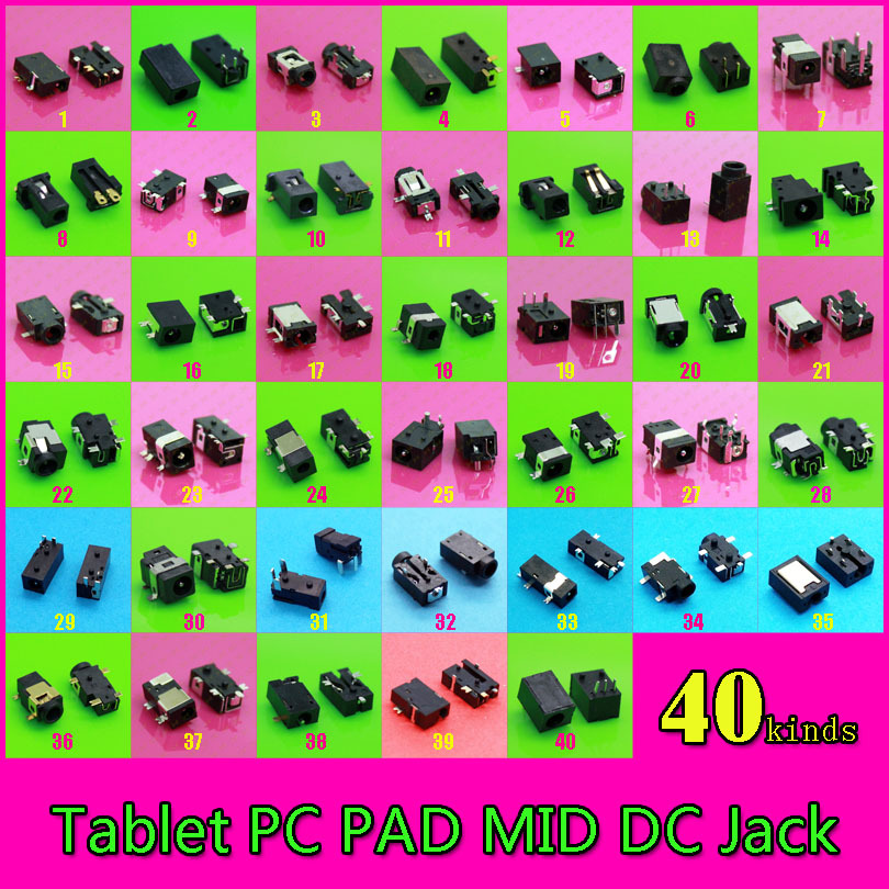 Free shipping 40 models 80pcs Laptop Tablet PC MID DC Power Jack for many brand including all the models free shipping brand teclast taipower p76s tablet pc mid large capacity lithium battery 357090 panels