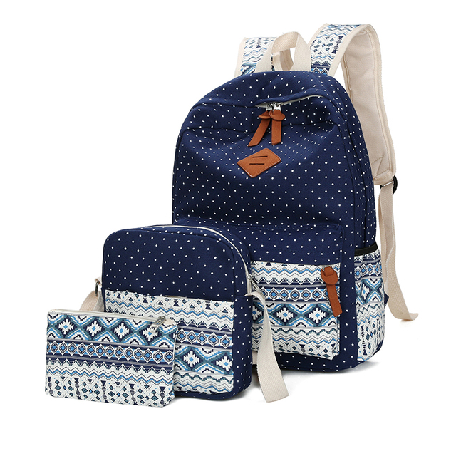 US $18 97 49% OFF|3 Sets Canvas Backpack Fashion Teenager Student Backpacks  School Bags Girls Boy Book Bag High Quality Double Shoulder Rucksack-in