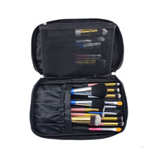 Women Men Professional Brush Tool Bags Solid Leather Zipper Cosmetic Bag Portable Makeup Box Bolso Maquillaje #7118