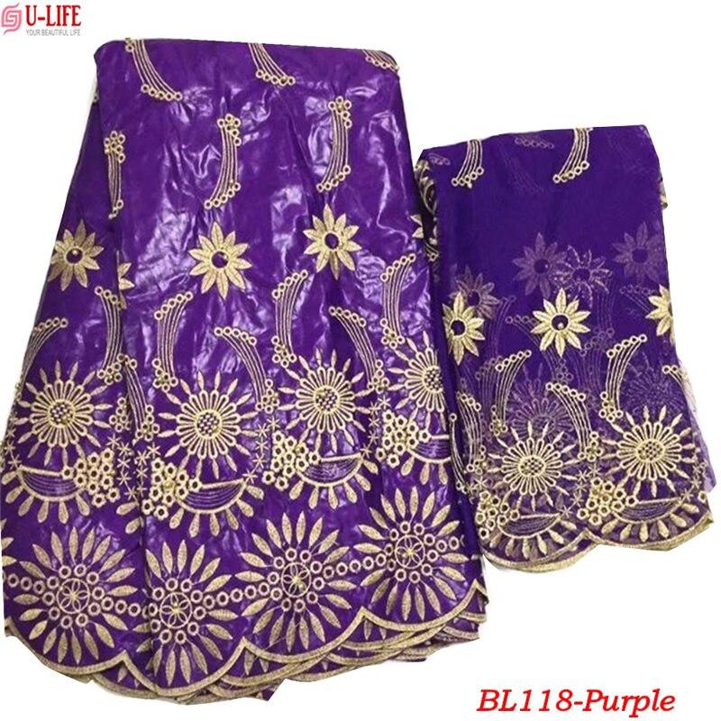 Violette Africaine Tissu Dentelle 2018 Bazin Brode getzner Correspondant 2 Yards Tulle Maille Broderie Nigérian Bazin ensembles robes BL-118