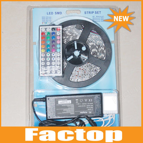 FREE DHL, Fedex, EMS shipping Waterproof 5050 RGB Led Strip Light 60led/m 5M 300 LED SMD DC 12V+ IR Remote Control + 6A adapter