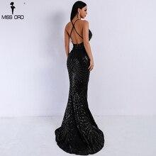 Missord 2018 Sexy decote em v Elegante Listrado Backless Mulheres Vestidos De Lantejoulas Bodycon Maxi Vestido de Festa Vestidos FT8928-1