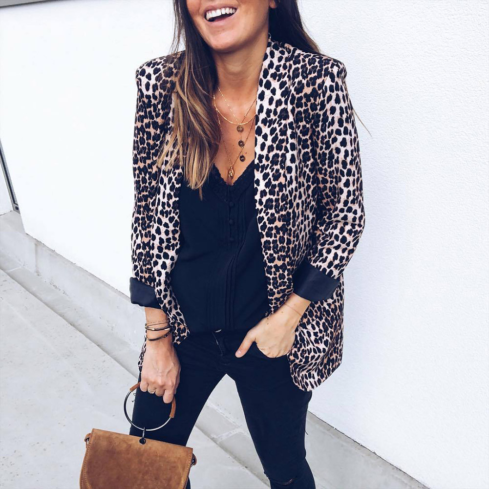 Womens Leopard Blazers Fashion Notched 2018 New Fashion Big Size Long Sleeves Leopard Casual Blazer Ol Jacket Coats Dress Tops