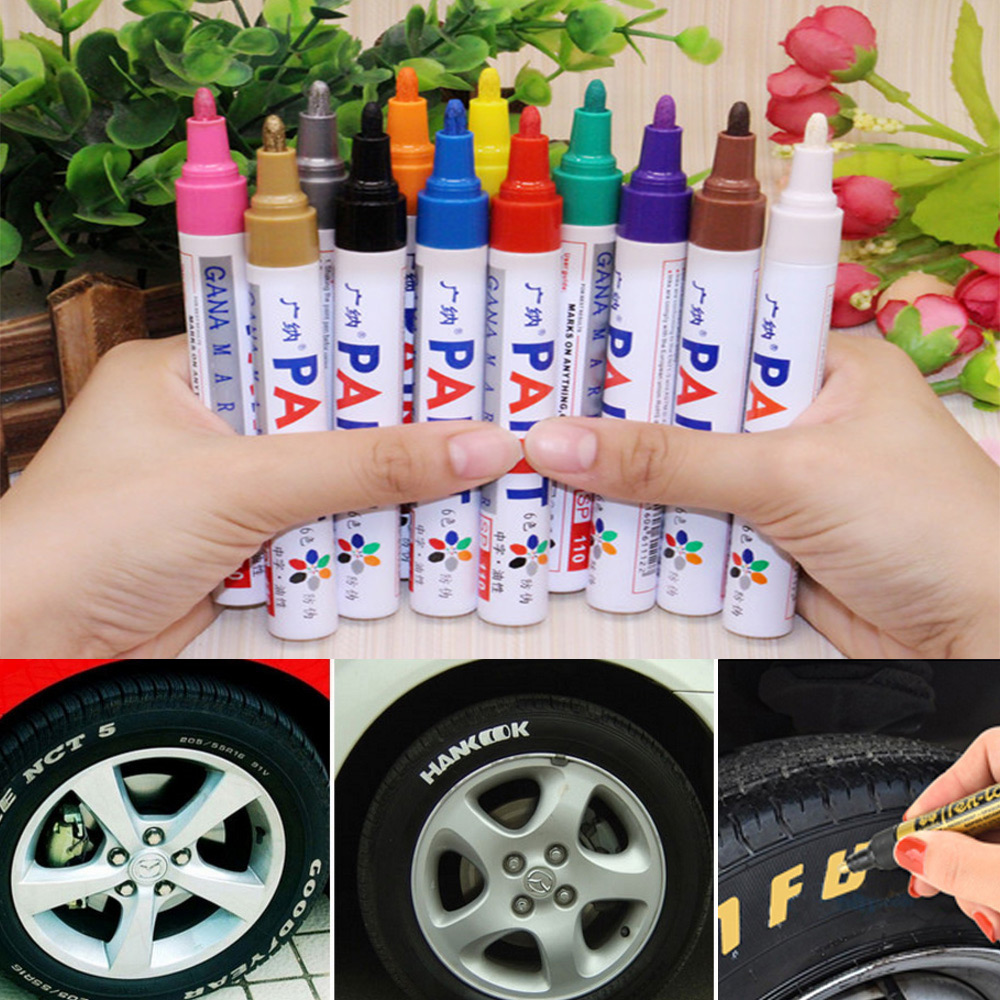 Colorful Waterproof Pen Car Tyre Tire Tread CD Metal Permanent Paint Markers Graffiti Oily Marker Pen Dent Repair Tool