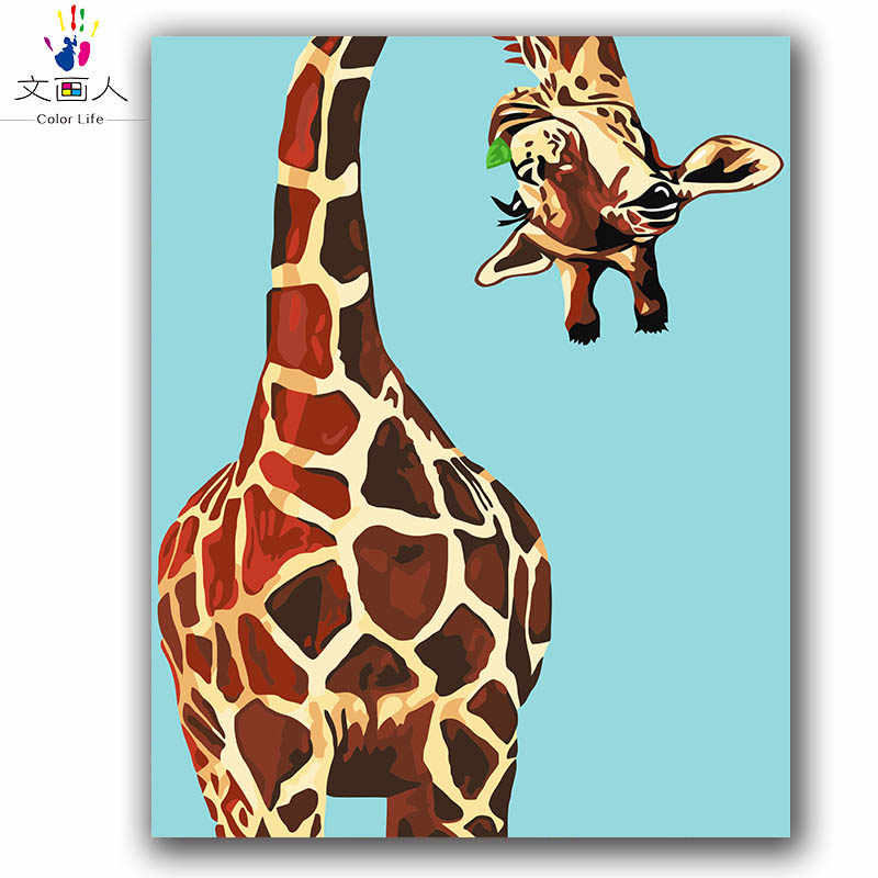 diy Coloring paint by numbers Giraffe eating grass animals pictures painting by numbers with colors for kids 3 pieces hoom decor
