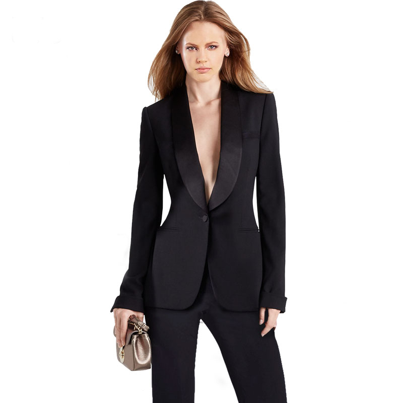Custom Suit Fashion Black 2 Piece Set For Women Pant Suit Single Button Notched Blazer High Waisted Pants Casual Work Wear 2019