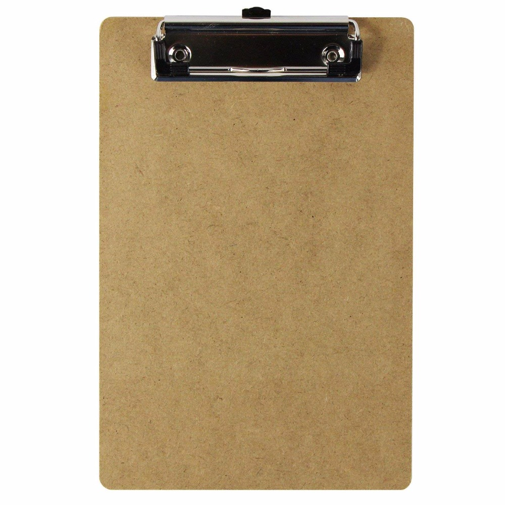 Standard A5 Wooden Hardboard Clipboard Hanging Hole Low Profile Clip Classroom Supplies