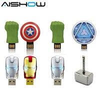 Livraison gratuite Avengers Hulk mains usb flash drive 4 GB 8 GB 16 GB 32 GB Ironman/Américain bouclier/Hulk main/marteau Pen Drive