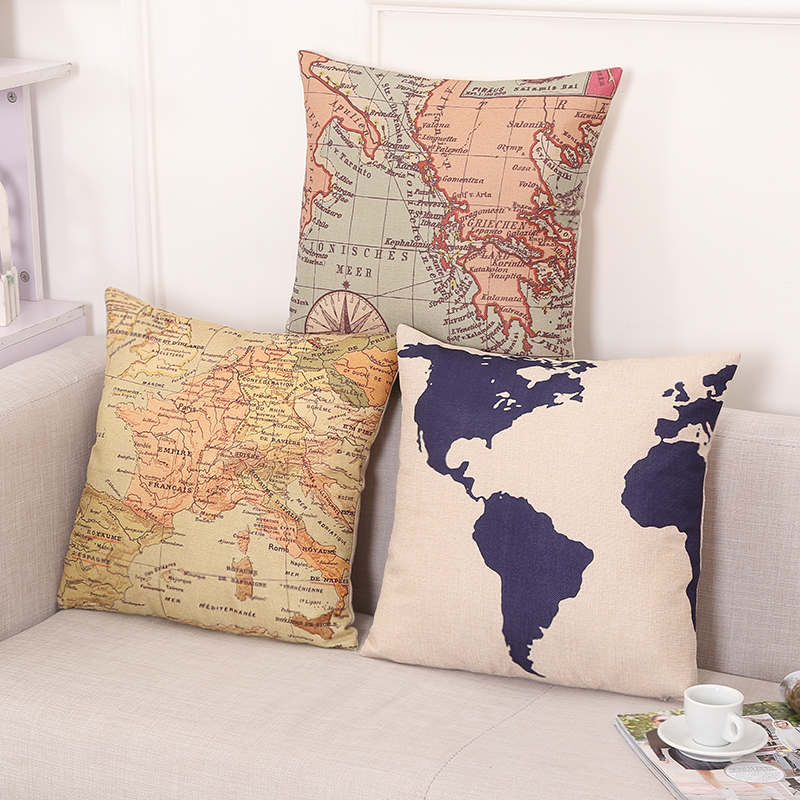 Mediterranean Nautical World Map Throw Pillows Vintage Cushion Cover Retro Home Decor Sofa Cushion Cover 45x45cm