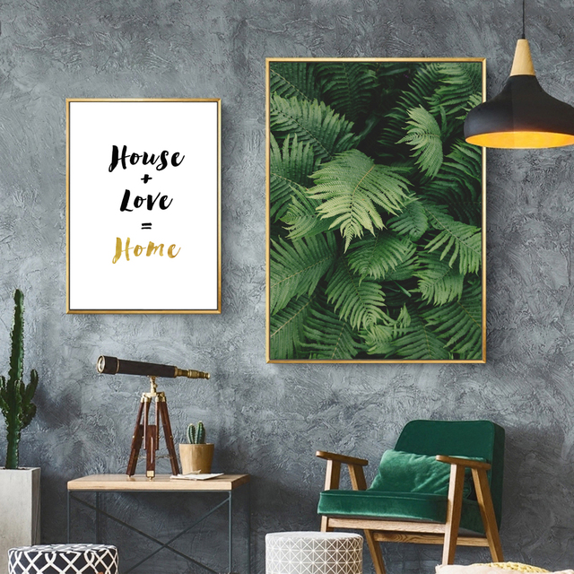 Unframed Canvas Print Painting Poster Ferns Quote Love Homenordic Green Plant Wall Picture Home