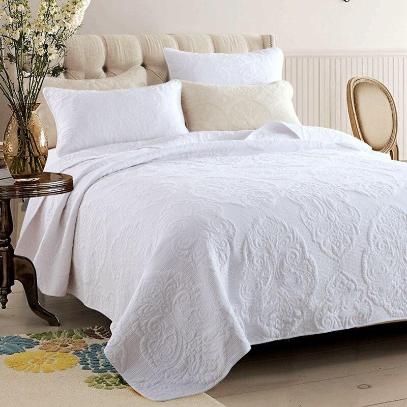 Вышитое покрывало одеяло комплект 3 шт. покрывала Хлопковое одеяло s простое однотонное постельное белье одеяло ed покрывало King queen размер од...