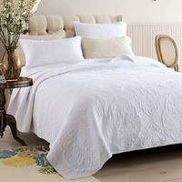 Couvre-lit brodé Ensemble 3 pcs Couvertures de Courtepointes En Coton Simple Solide Literie Matelassé Couvre-lits King Size Couverture Blanc