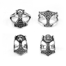 Norse Viking Myth Thor Hammer Ring Stainless Steel Jewelry  Knot Ring Animal Amulet Biker Men Ring Wholesale norse vikings amulet pendant necklaces hammer of thor mjolnir pendants sweater chain necklace animal wolf head viking jewelry