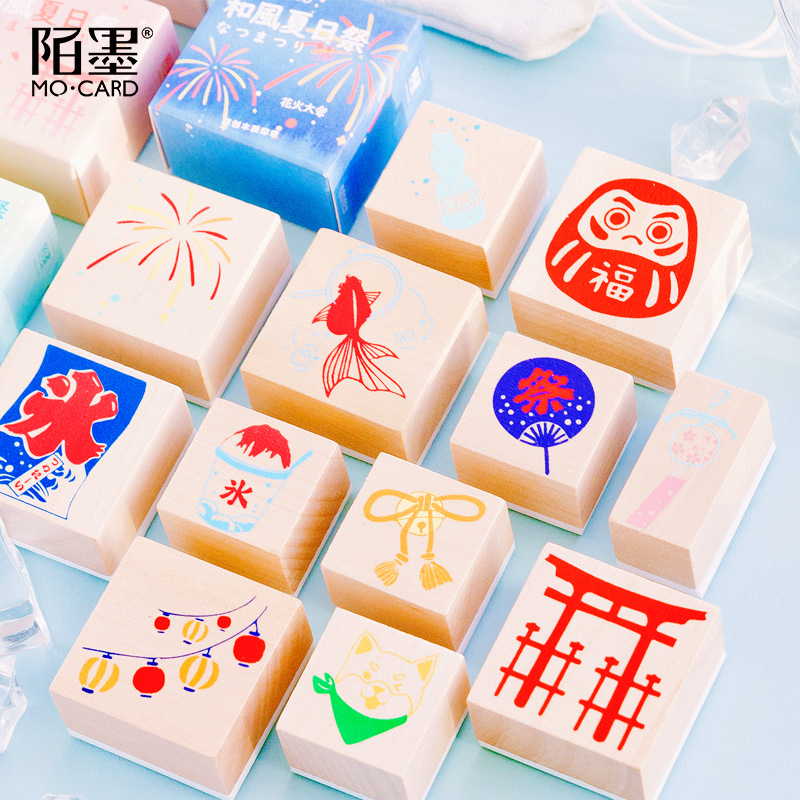 Vintage Stamp Japanese Style Daily Life Pattern DIY Wooden Rubber Stamps For Scrapbooking Stationery Scrapbooking Standard Stamp