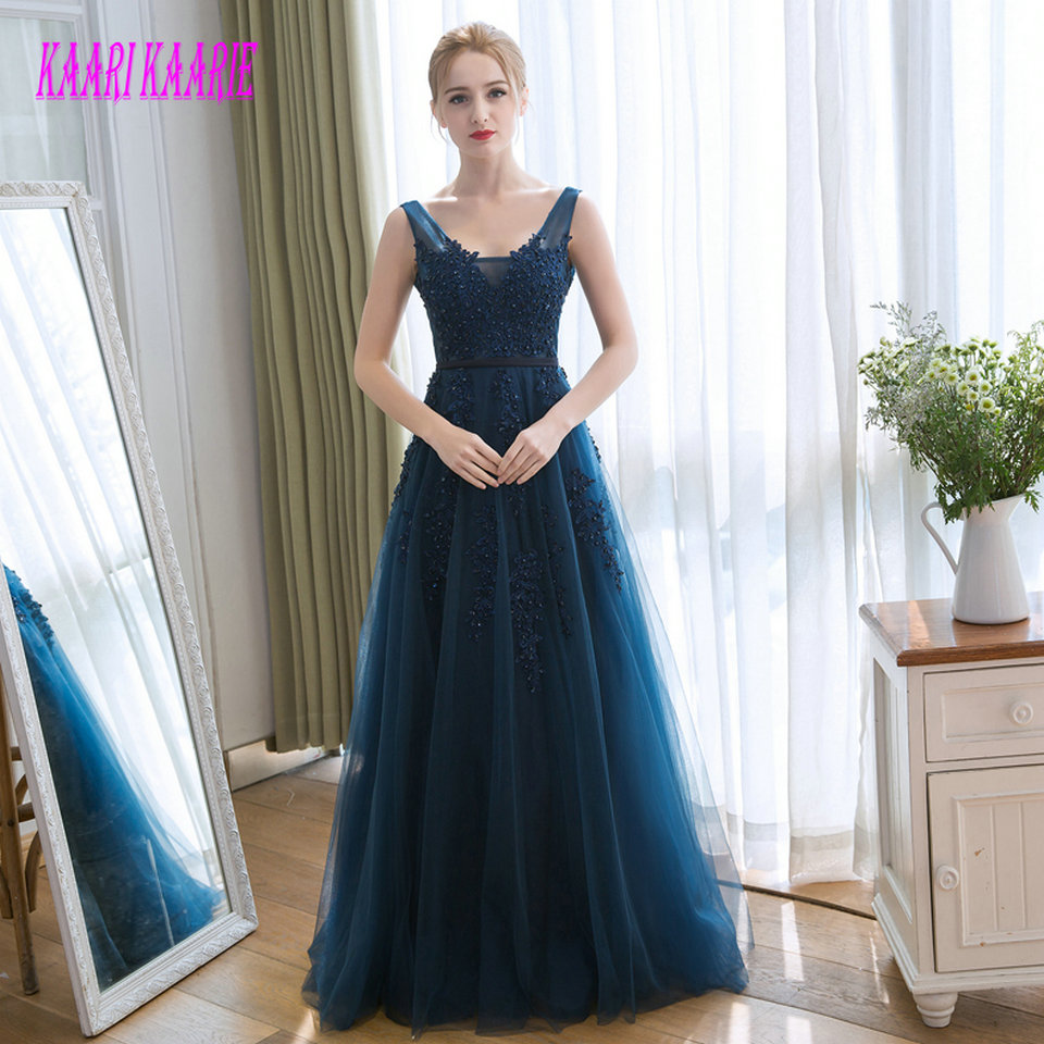 Formal Dark Navy Long   Evening     Dresses   2019   Evening   Gown Plus Size Scoop Tulle Appliques Backless A-Line Women Party   Dress   Prom