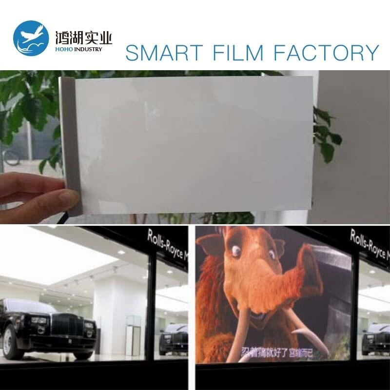 Nouveau Commutable Électrique blanc opaque Auto-adhésif PDLC intelligent Film Fenêtre Porte échantillons pour arrière de projection screen30x30cm