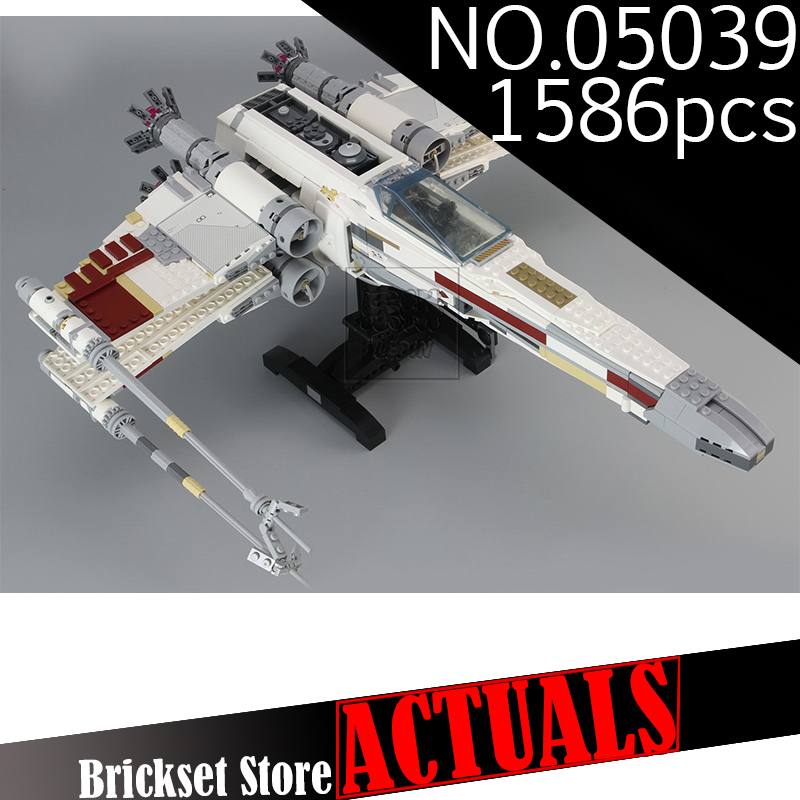 New LEPIN 05039 Star Model Wars 1586Pcs Red Five X Starfighter wing Building Blocks Bricks toy Compatible 10240 for Boy gifts lepin 05039 star wars red five x wing starfighter figure blocks construction building bricks toys for children compatible legoe