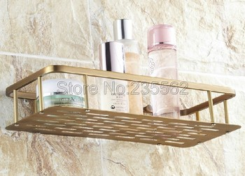 Corner Wall Shelves | 300mm Antique Brass Finish Bathroom Accessories / Soap / Sponge & Body Wash Wall Mounted Shower Storage Basket Cba107