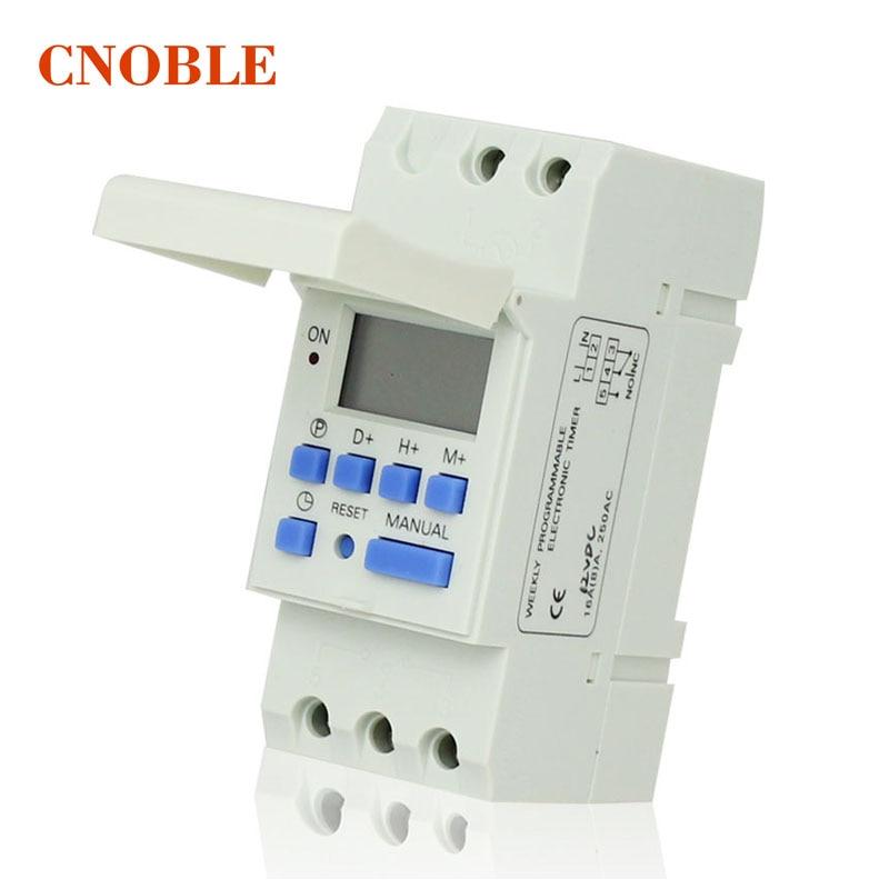 AC 220 V Digital LCD Power Timer programable interruptor de tiempo Relay 16A buena temporizador carril Din