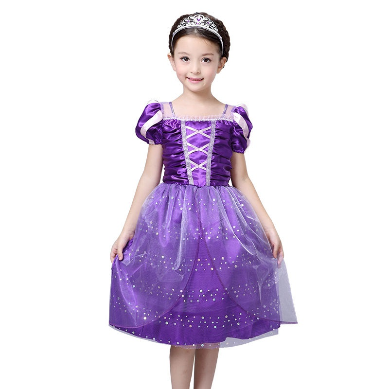 ᗛLa alta calidad Vestidos Rapunzel princesa púrpura traje niños ...