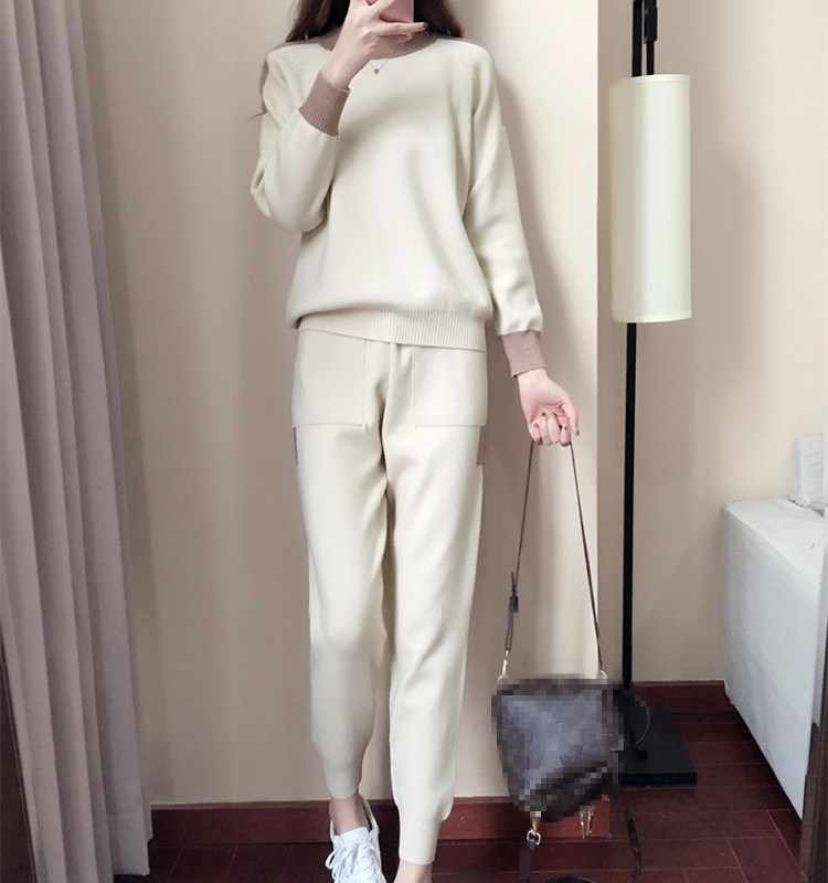 880235eef1 New 2018 Autumn Winter Woman 2 Pieces Set Pullovers Sweater And Tracksuits  Knitted Suits Casual Pockets