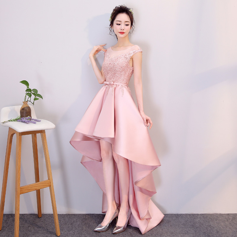 2019 Spring New Pink Evening Dress Short Front Long Back Banquet Party Dress Illusion O-neck Appliques Flower Haute Couture