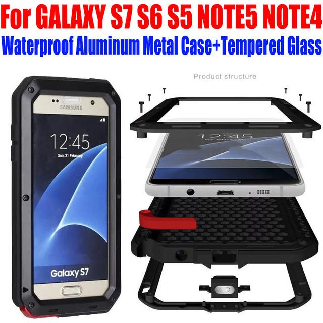 Caso para samsung galaxy s7 s6 s5 note5 note4 queda de choque à prova d' água tampa do telefone de metal de alumínio + vidro temperado s721