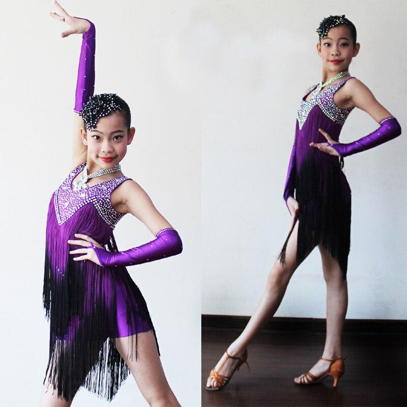 Girls Latin Dance Costumes 2017 New Design Diamonds Tassel Tango Runba Sumba Latin Competition Skirt Children Dance Wear