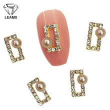 LEAMX 10 PCS/bag Nails Art Jewelry Charms Pearl Glass Rhinestone Nail Decorations 3D Rectangle Frame DIY Tools L500