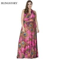 BLINGSTORY Vintage Halter V Neck Print Plus Size Jurk Ice Silk Maxi Long Elegant Dresses For