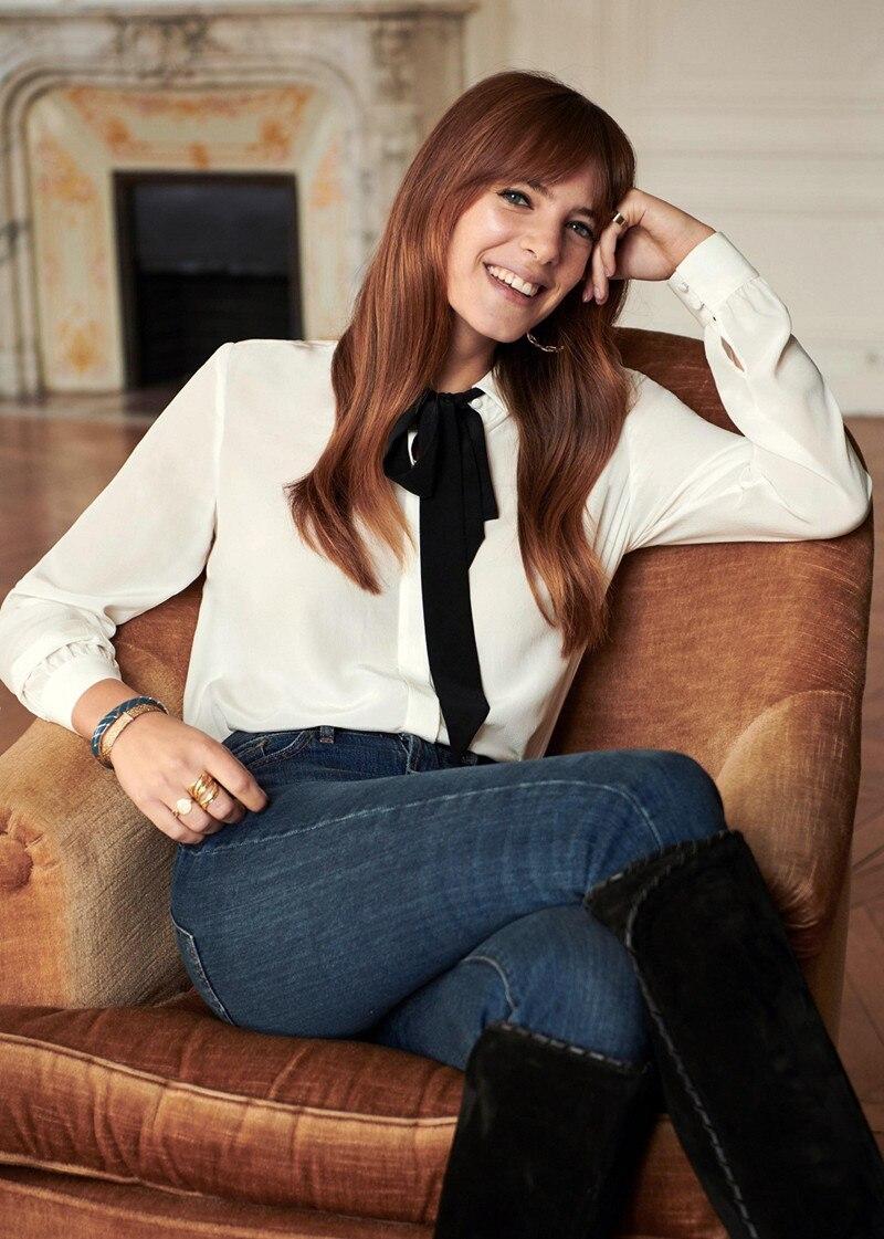 여성 흰색 넥타이 보우 리본 실크 블라우스 & 셔츠 french sweet style-에서블라우스 & 셔츠부터 여성 의류 의  그룹 1