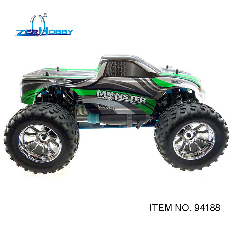 HSP RC Car 1/10 Scale Nitro Power 4wd Off Road Monster Truck 94188 Pivot Ball Suspension Two Gears High Speed Hobby No Radio