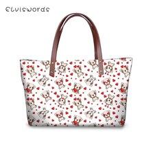 ELVISWORDS Womens Famous Brand Handbag Little Dog Print Pattern Woman Crossbody Bags sac a main Kawaii Animal Design Purse