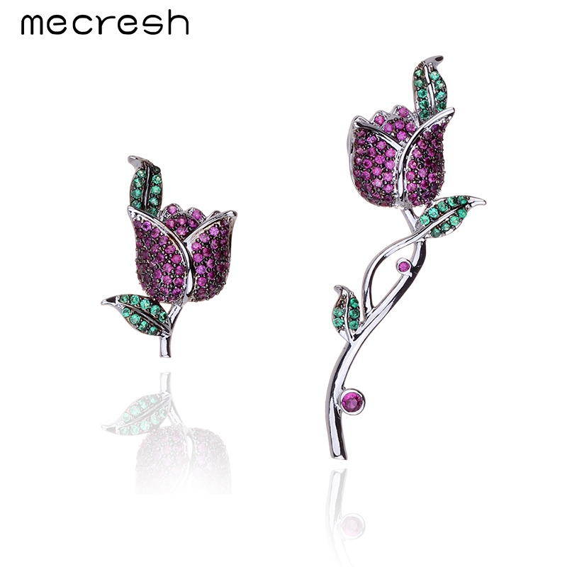 Mecresh New Design Colorful CZ Stones Romantic Rose Ear Accessories Wedding Earrings Jackets Jewelry for Women Best Gift EH569
