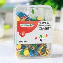 100 pcs/lot Colored Drawing Push Pins Metal Thumb Tacks Cork Boards Pushpins Map Pin Office School Supplies