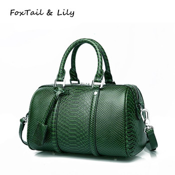 FoxTail & Lily Brand Genuine Leather Boston Handbags Serpentine Pattern Real Leather Crossbody Bag Women Shoulder Messenger Bags