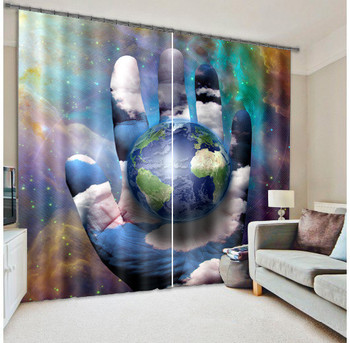 Creative Picture The Earth In The Palm 3D Window Curtain For Living Room Office Room