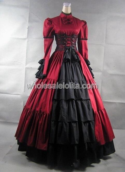 Королевское красное викторианское готичное платье с корсетом - Цвет: red and black