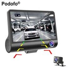 "Podofo 4"" Three-way Car Camera FullHD 1080P Video Registrator 170 degree Wide Angle Dash Cam Video Recorder G-sensor Dashcam"