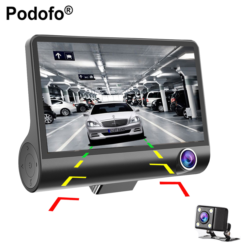 Podofo 4'' Three-way Car Camera FullHD 1080P Video Registrator 170 degree Wide Angle Dash Cam Video Recorder G-sensor Dashcam