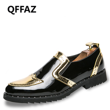 QFFAZ New High Quality Luxury Brand Slip On Men Casual Shoes Patent Leather Flat Lace-Up Oxford Men Dress Shoes Wedding Shoes