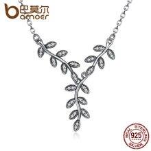 Bamoer 925 sparkling hojas collar colgante largo, Clear CZ Mujeres Colgantes y Collares Joyería PSN008