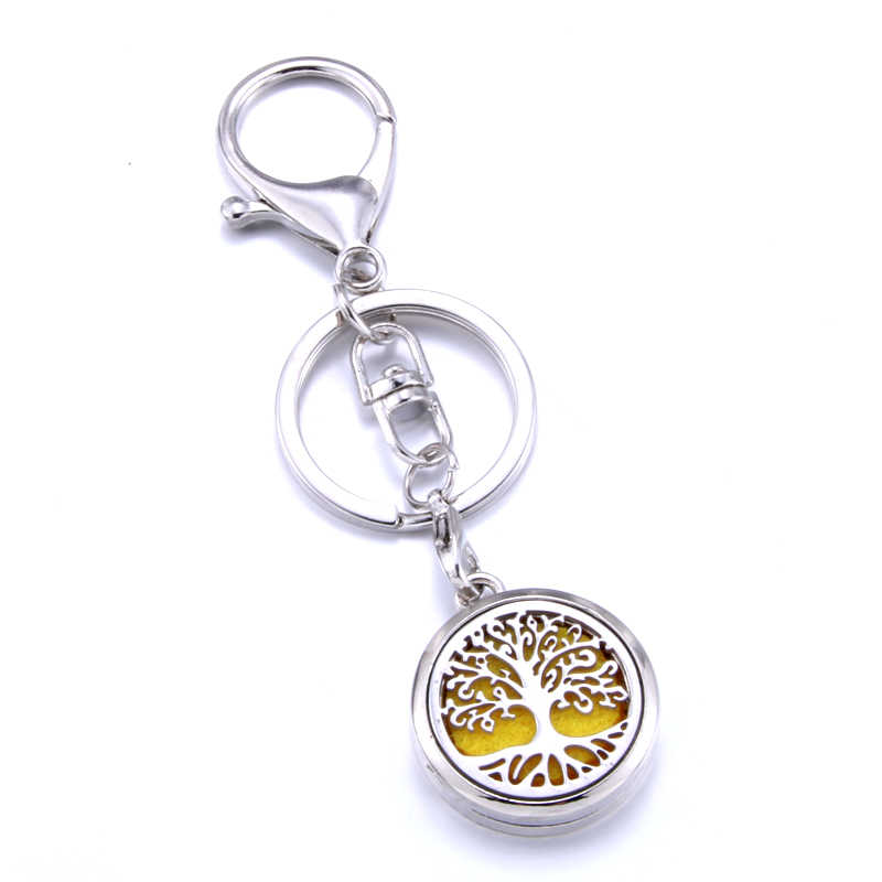 Aromatherapy keychain stainless steel feather pattern perfume diffuser keychain aroma diffuser jewelry suitable for car key