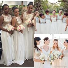 Cheap White And Gold Sequin Bridesmaids Dress Cap Sleeve 2016 Wedding Party Dress A-Line Dress BD112