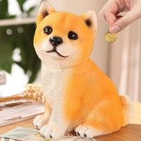 Cartoon dog piggy bank child piggy bank shiba coin jar child gift birthday gift smallsweet resin dog home decor money box
