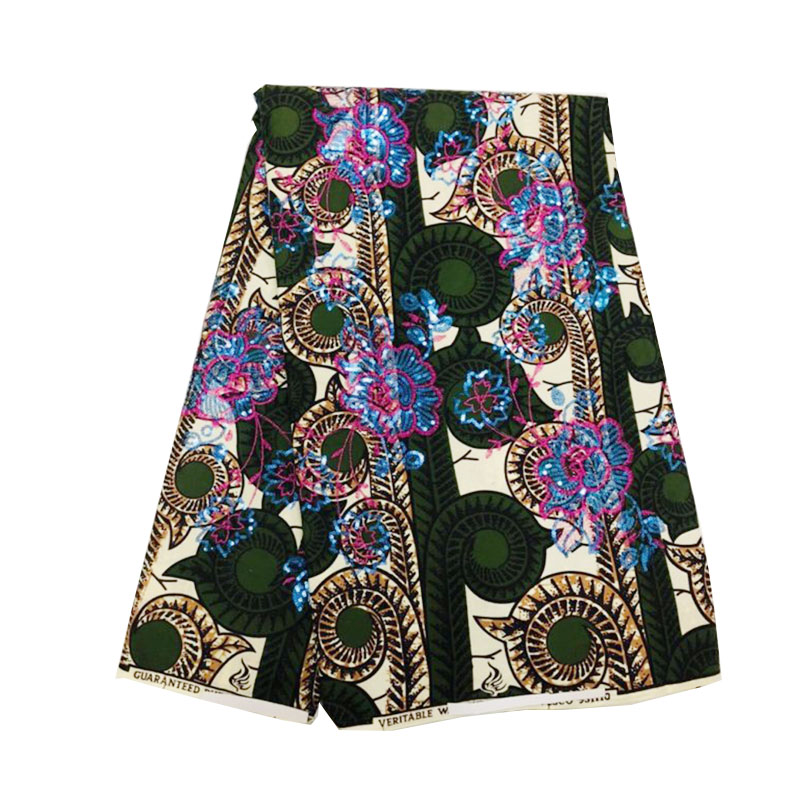 African Java Wax with Sequin Embroidery Super Africa 6 Yards Ankara Nigerian Cotton